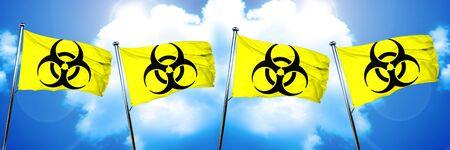 Biohazard sign flag, 3D rendering