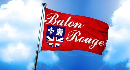 baton: Baton rouge flag, 3D rendering