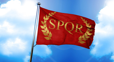 roman laurel wreath flag, 3D rendering