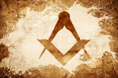 freemasonry: Grunge vintage freemason sign Stock Photo