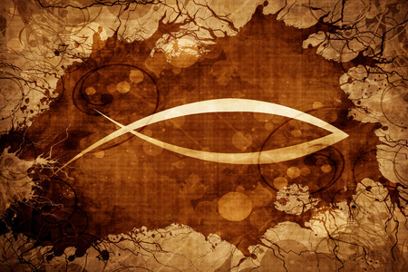 pez cristiano: Grunge vintage Christian fish symbol Foto de archivo