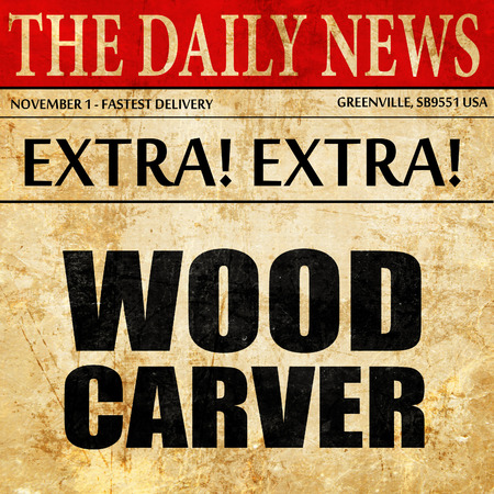 trinchante: wood carver, newspaper article text Foto de archivo