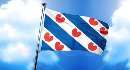 フリースラント州の旗、3 D レンダリング