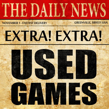 users video: used games, newspaper article text Stock Photo