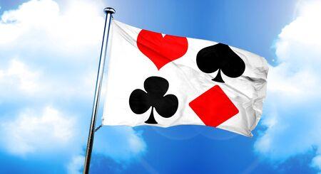 bandeira dos símbolos do jogo de cartas, renderização 3D