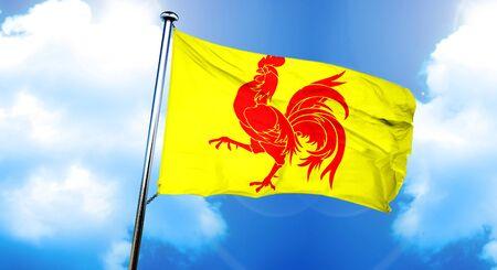 wallony, wallonie flag, 3D rendering Imagens