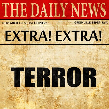 caliphate: terror, newspaper article text Stock Photo