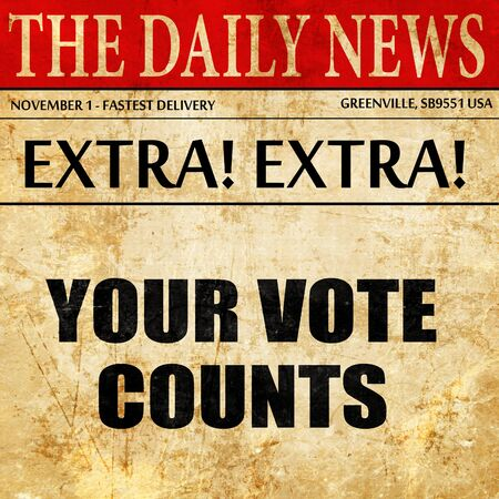 your vote counts, newspaper article text Stock Photo