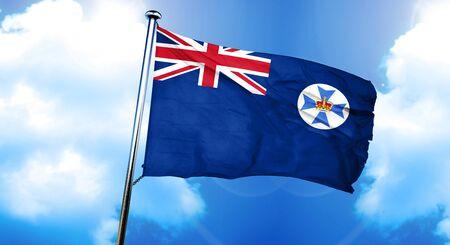 queensland: Queensland flag, 3D rendering Stock Photo