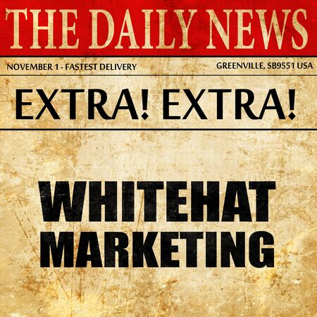 spamdexing: whitehat marketing, newspaper article text Stock Photo