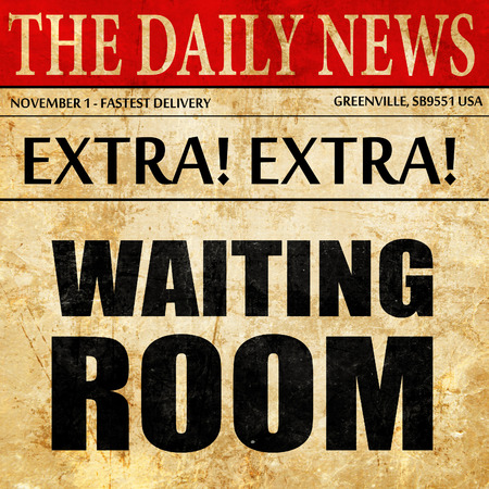 healthcare visitor: waiting room, newspaper article text