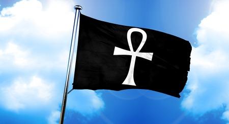 ankh cross: ankh sign flag, 3D rendering