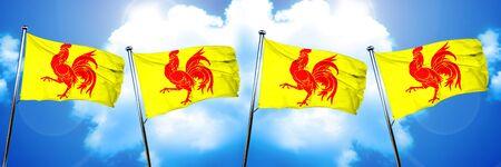 wallony, wallonie flag, 3D rendering Stock Photo
