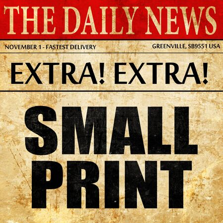 hidden fees: small print, newspaper article text Stock Photo