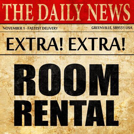 rental: room rental, newspaper article text