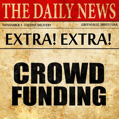 action fund: crowd funding, newspaper article text Stock Photo