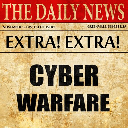 cyberwarfare: Cyber warfare background with some smooth lines, newspaper article text
