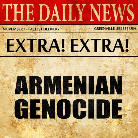 world war one: armenian genocide, newspaper article text Stock Photo