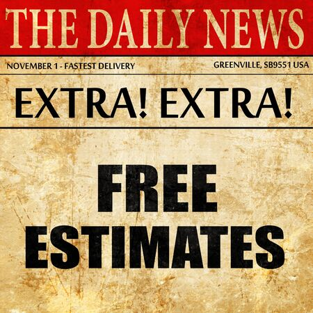 estimating: free estimate, newspaper article text Stock Photo