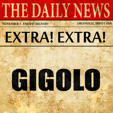 gigolo, newspaper article text Stock Photo