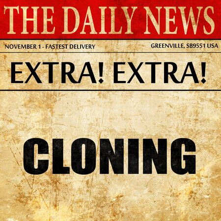 clonacion: clonación, artículo de prensa de texto Foto de archivo