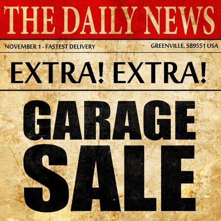 suburban neighborhood: garage sale, newspaper article text Stock Photo