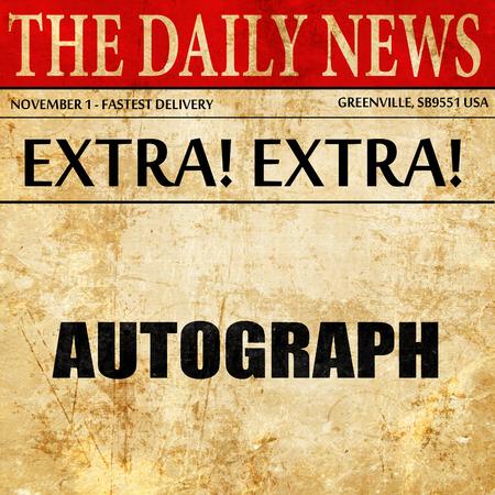 autograph: autograph, newspaper article text