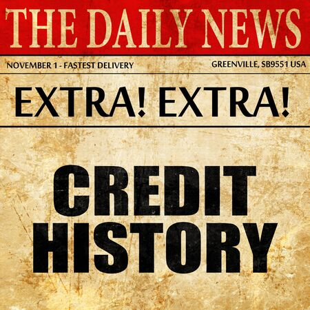 credit history, newspaper article text Stock Photo