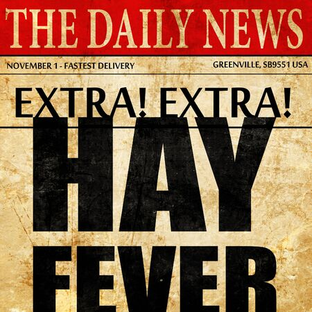 hayfever: hayfever, newspaper article text Stock Photo