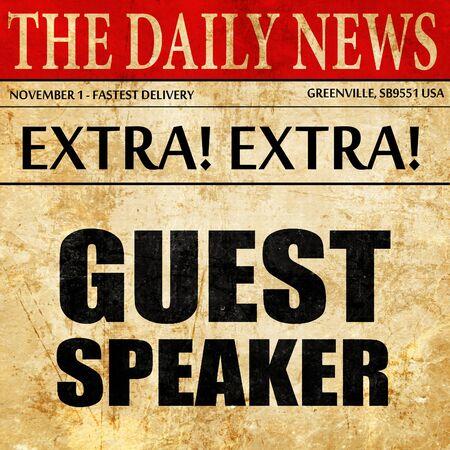 Orateur invité, texte d'article de journal