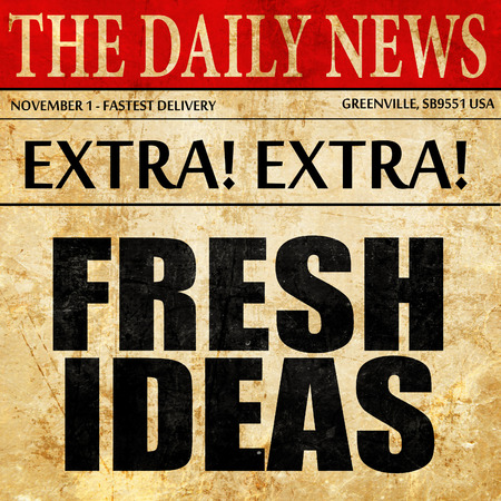 expressing artistic vision: fresh ideas, newspaper article text Stock Photo