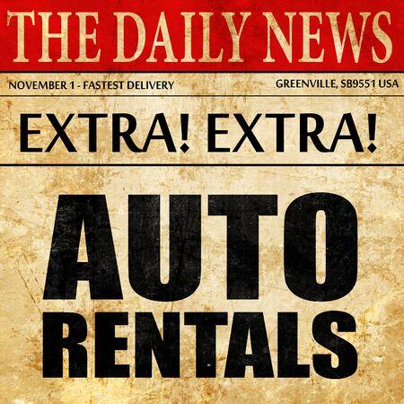 rentals: auto rentals, newspaper article text