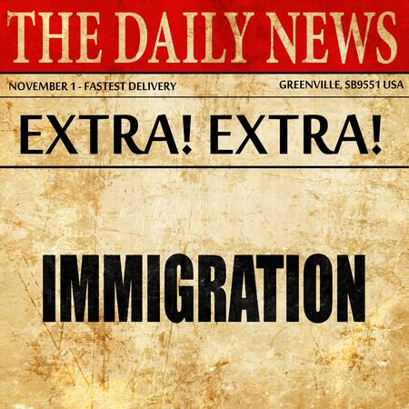 naturalization: immigration, newspaper article text Stock Photo