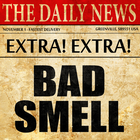 stinks: bad smell, newspaper article text Stock Photo