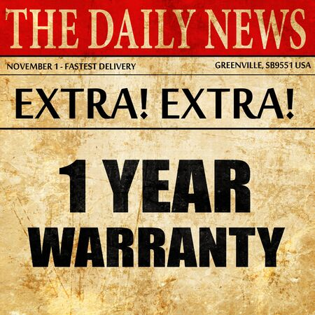 3 5 years: 1 year warranty, newspaper article text