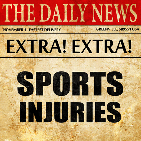 rupture: sports injuries, newspaper article text Stock Photo