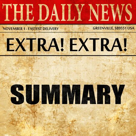 recap: summary, newspaper article text