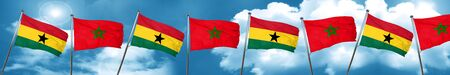 Ghana flag with Morocco flag, 3D rendering Stock Photo