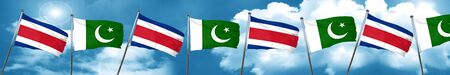 Costa Rica flag with Pakistan flag, 3D rendering Stock Photo