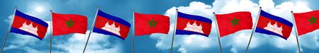 Cambodia flag with Morocco flag, 3D rendering