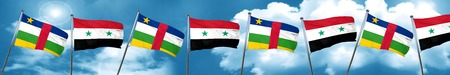Central african republic flag with Syria flag, 3D rendering
