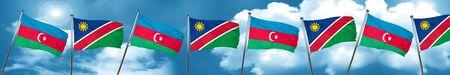 combines: Bandera de Azerbaiyán con la bandera de Namibia, 3D