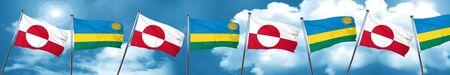 greenland flag with rwanda flag, 3D rendering