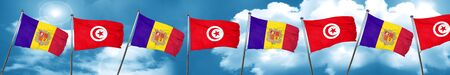 Andorra flag with Tunisia flag, 3D rendering
