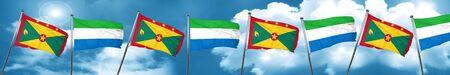 Grenada flag with Sierra Leone flag, 3D rendering Stock Photo