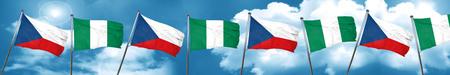 country nigeria: czechoslovakia flag with Nigeria flag, 3D rendering Stock Photo