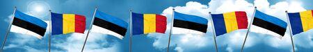 estonia flag with Romania flag, 3D rendering