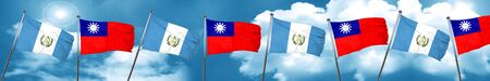 guatemala flag with Taiwan flag, 3D rendering