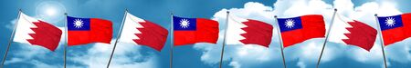 Bahrain flag with Taiwan flag, 3D rendering Stock Photo