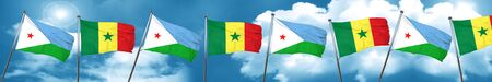 Djibouti flag with Senegal flag, 3D rendering